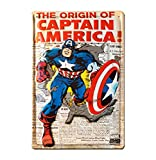 LOGOSHIRT - Marvel Comics - The Origin of Captain America Plaque en métal - Signe métal - Rétro - 20x30 - Design original sous licence