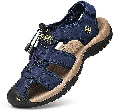 Unitysow Nu Pied Homme Sandale Bout Fermé Cuir Sandales de Plage Été Extérieur Sports Trekking Chaussure de randonnée Pêcheur Sandales Taille FR 39-46