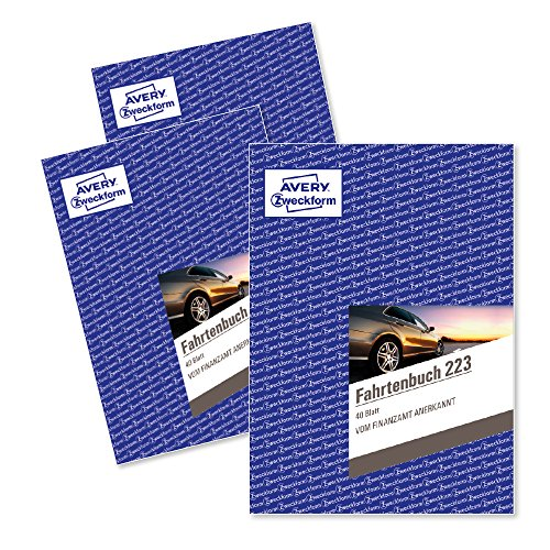 Avery Zweckform 223-3 Fahrtenbuch für PKW (A5, 40 Blatt) 3er Pack, weiß