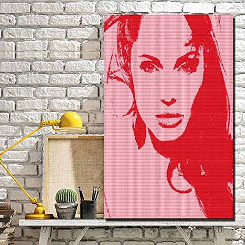 HD Print Abstrakte Angelina Jolie Mädchen Gesicht Leinwand Gemälde Rot Schöne Mädchen Kunst Leinwand Für Wohnzimmer Wand 50 * 75 cm