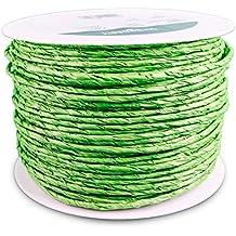 KragoArt Crazy Paper 2 mm - 100 m Spindel - Verschiedene Farben, Papierkordel mit Drahtkern eignet sich zum Basteln, Floristik, Dekorieren … (Hellgrün)