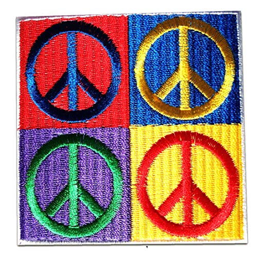 Parches - Peace Hippie - colorido - 7x7cm - termoadhesivos bordados ap