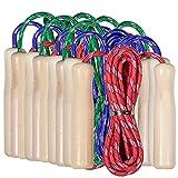 Partituki Pack di 10 Corde per Saltare. Corde per Saltare con Manico in Legno. Ideale per Giochi all'Aperto e Regali di Compleanno per Bambini.
