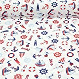 Erstklassiger Baumwollstoff 0,5lfm, 100% Baumwolle, modische Muster, Breite 160cm – Segelschiffe