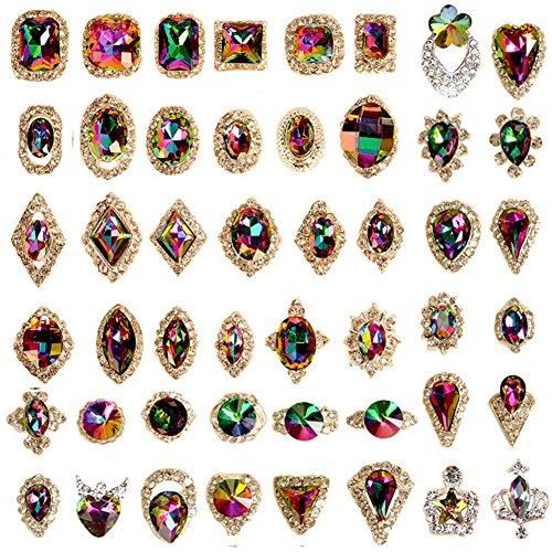 60pcs Kristalle Schmuck Diamant Charms Gems Steine Strass für Nägel UV-Gel Nail Decor Zubehör DIY Basteln