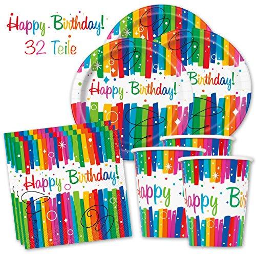 PartyMarty Happy Birthday PartyBox Rainbow - Das knallbunte Party Set für eine tolle Geburtstagsfeier - Ausstattung mit Teller, Becher, Servietten & Co. (Basic für 8 Gäste - 32-TLG GmbH® (Und Servietten Teller Rainbow)