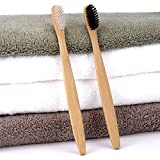 HITSAN 4pcs Eco Friendly Bamboo Charcoal Soft Fine Bristles Bamboo Handle Manual Toothvrushs For Adult One Piece