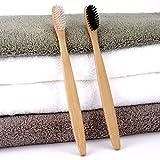 PANGUN 4 Stück Öko-Freundliche Bambus-Holzkohle Weiche Feine Borsten Bambus Griff Manuelle Zahnvrushs Für Erwachsene