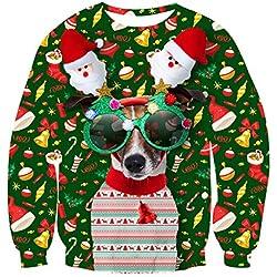 uideazone Unsiex Ugly Christmas Jumper 3D Impreso Jersey para Navidad Xmas Manga Larga Christmas Hund L