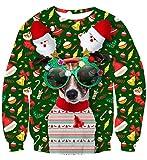uideazone Homme Ugly Christmas Sweater T Shirt Sweat-Shirt Noël Chien 3D Imprimé Chats Manche Longue Unisexe