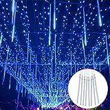 ZXY Meteorschauer Lichter 30CM, 8 Tubes Meteor Lichterkette, LEDs Lichterkette, Meteorschauer Regen Lichter für Weihnachtsdekoration, Garten, Aussen und Party blue-80cm