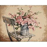 Tamaño juego de punto de cruz, diseño de rosas sobre fondo de color blanco silla