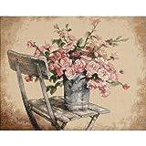 Dimensions Kit Point De Croix Compté, Roses sur Une Chaise Blanche