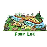 FunBlast Colorful Learning Farm Life Animal Toy Play Set for Kids, Educational Toy for Kids, Farm Life Play Set- 111 Pcs with