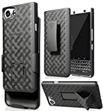 #10: BlackBerry KeyOne Case, Ziaon Black Kickstand Case + Belt Clip Holster Cover for BlackBerry KEYone Phone