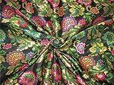 TheFabricFactory Brokat Stoff, Schwarz, Pink, grün Metallic Gold Farbe 111,8cm Breit bro608[1]