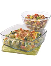 Borosil Glass Mixing Bowl and Square Dish with Lid Set, 2-Pieces, Transparent