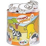 Aladine - Stampo Minos Animaux de la Savane - Kit Tampons Enfant - Activités Manuelles Fille et Garçon - Encre Lavable - Joue