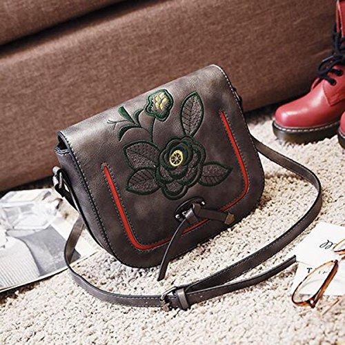 Frau Schultertasche Messenger Bag Gestickten Blumen Kleines Quadrat-Paket Darkgray