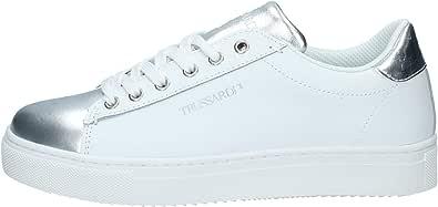 Trussardi Jeans 79A00478 Sneakers Donna Stringate in Pelle Bianco Silver