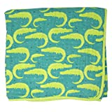 Emma & Noah Baby Kuscheldecke, verschiedene Designs, extra weich und groß, 120 x 120 cm, 100% Baumwolle, 6-lagig, als Decke, Babydecke, Einschlagdecke, Kinderwagendecke, Erstlingsdecke (Krokodil)
