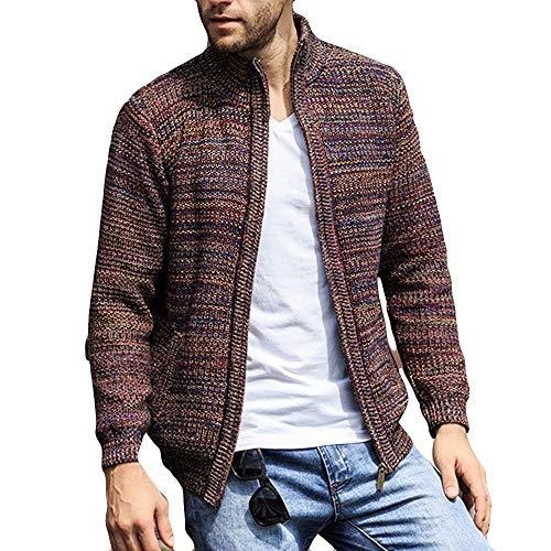 Giacca invernale da uomo, rcool basic cappotto maniche lunghe stand collare cardigan a maglia caldo cappotti giubbotto moda parka maglione