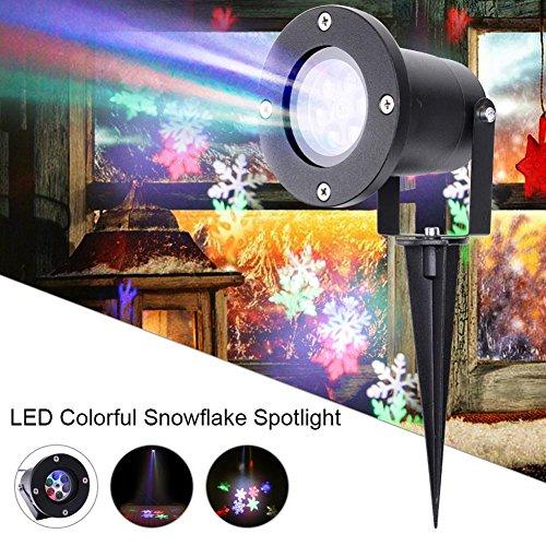 OOFAY LIGHT® Bühnenlicht Outdoor wasserdichte LED Schneeflocke Projektionslampe Muster Schnee Licht Weihnachten Halloween Rasen