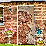Hliang-Adesivo con frammento di Muro di Mattoni sulla Porta Finitura Satinata Protezione dell'ambiente Carta da Parati in PVC Decorazione della casa Adesivo Impermeabile Wall Art Wall Sticker