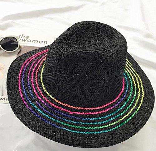 Brolux(TM) 1 PC Summer Hats For Women Sun Hat Rainbow Color Stripe Panama Bucket Hat Men Jazz Beach Seaside Visor Cap Chapeu Feminino Male [Black ] - Visor Stripe Cap