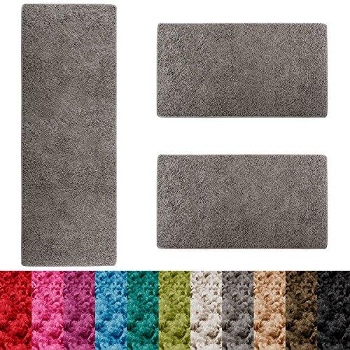 Casa pura scendiletto sphinx   tappeto camera   pelo lungo   set da 3 tappeti   moderno   grigio