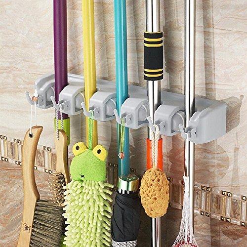 Itian Multifunktions Haushalts Mopp und Besen Kunststoff-Wandhalterung Umbrella Storage Rack (5 Position 6 Haken)