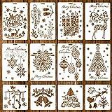 Whaline 12 Stück Weihnachtsschablonen Bullet Journal Templates - Merry Christmas, Santa Claus, Xmas Bäume, Schneeflocken, Rentier, Geschenkboxen für Karten DIY Zeichnen und Basteln (2 Größen)