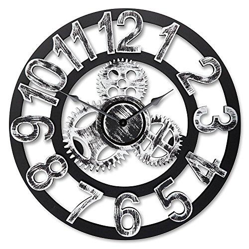 """Orologio da parete rotondo da 16 """", design vintage in legno antico..."""