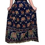Decot Paradise Women's Cotton Printed Skirt (DL_3136, Navy Blue, Free Size)