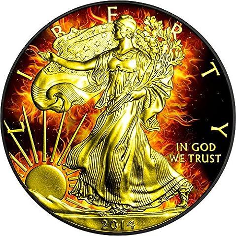 BURNING WALKING LIBERTY Eagle Fire Black Ruthenium Gold 1 Oz Silver Coin 1$ US Mint 2014