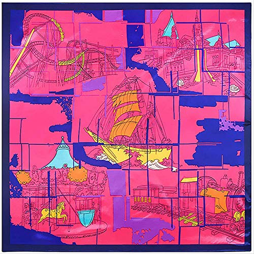 DLQX Quadratischer Schal Horse Map Print Square Schal Schals Damen Satin Schals Damen Schal Bandana Head Hijab Fashion Schals Damen Daily Wear Matching Pieces2 Wear Fashion Schal