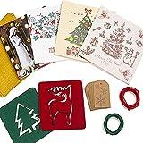 La Hermosa Caja de Tarjetas de Navidad - 20 Tarjetas con 20 Sobres Rojos y 10 Dorados - 20 Etiquetas de Regalo con 3 Metros de Cuerda de Yute - 2 Posavasos de Diseños Navideños de Fieltro de Poliéster