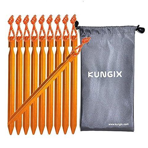 kungix Tente Piquets Piquets 17,8cm en alliage d'aluminium avec corde réfléchissante Lot de 10 - Or