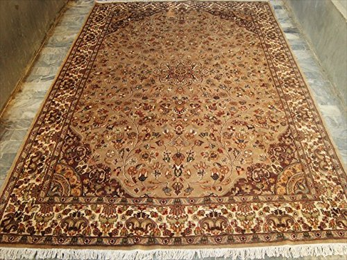 area-tappeti-beige-tan-flowral-rettangolo-seta-lana-tappeto-annodato-a-mano-9-x-6-