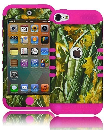 Bastex Hybrid Hard Case für Apple iPod Touch 5, 5. Generation-Hot Pink Schutzhülle aus Silikon/Brushy Camo Hartschale