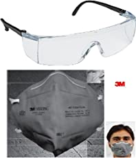 3M 28246 Accedre Combo of Full Eye Cover Bike Riding Goggles with Anti Pollution Face Mask