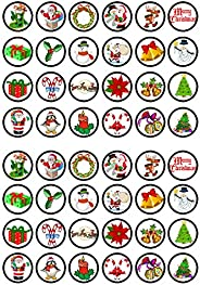 48 Festive Christmas #1 Edible Cupcake Toppers - Stand Up Wafer Cake Decorations (Pack of 48)