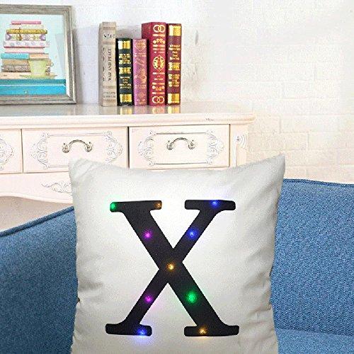 Die neue Farbe beleuchtet Weihnachtskissen LED beleuchtet Kissen kreatives Drucken Leinen, QHJ Weihnachtsschmuck Dekorative Kugeln Urlaub Party Supply Home Festival Dekore (X)