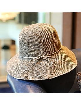 SituMi Señoras Verano sombrero para el sol Sombrero de Paja plegable disquete ala ancha Playa Grande, amarilla