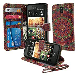 Nextkin HTC Desire 612 Leather Pouch Wallet Card With TPU Gel Protector Cover Case - Tropical Citrus Mandala
