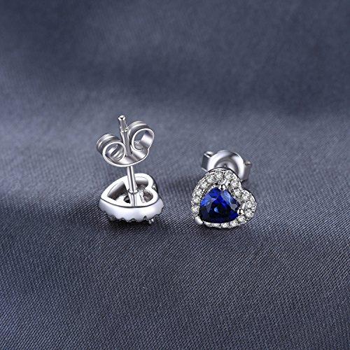JewelryPalace Runde Herz Des Ozeans 1.2ct Synthetisch Blau Saphir Ohrstecker 925 Sterling Silber ohrring stecker - 5