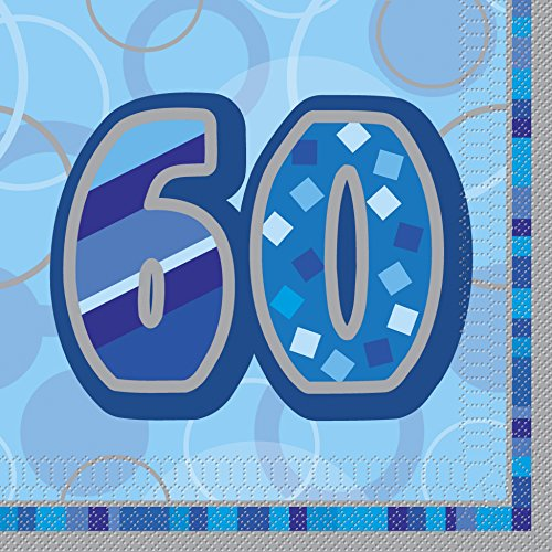 BLING Party Decorations And Tableware For 60th Birthday In Blue Glitz Sparkle 60 Napkins