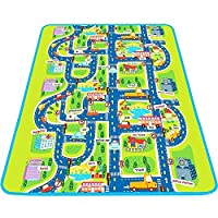 MaMiBabys Kids Activity Creeping Play Mat Children Learning Decor Rug with Road Traffic Kids Educational Car Carpet with City Town Map for Floor Bedroom Playroom Safe Area Game