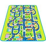 MaMiBabys Kids Activity Creeping Tapete de Juego, Baby Learning Decor Tapete con Tráfico de Carretera, Infants Educational Car Carpet con City Town Map, Grande y Grueso para Floor Bedroom Playroom Safe Area Game
