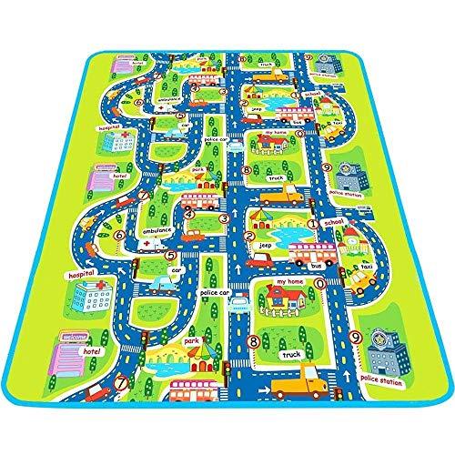 Trimming Shop Tapis de jeu et d'activité, non toxique, grand et épais pour bébé, motif carte de la ville, avec...